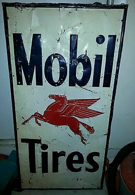Vintage Original Mobil Tires dealer sign oil gas pegasus metal not porcelain