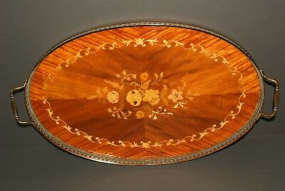 Vintage walnut marquetry oval galleried serving tray.
