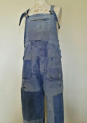 VTG French 1940s 50s Patched Work Overalls Trousers Pants Chore Workwear