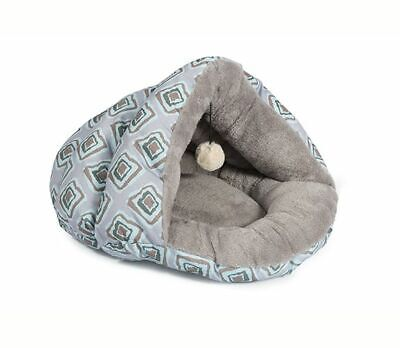 Ancol Luxury Plush Pet Bed Cave for Dogs or Cats Grey Blue Geometric Designs