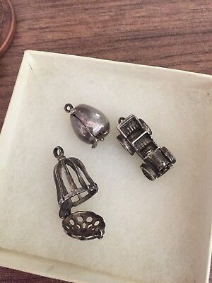 3 Antique Vintage Silver Charms, Apple (Adam And Eve), Birdcage And Car
