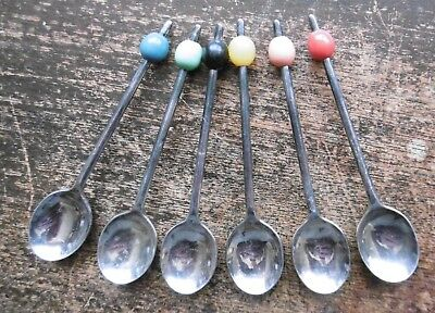 SET OF 6 x VINTAGE 1960's E.P.N.S. COCKTAIL SPOONS - COLLECT USE DISPLAY - VGC !