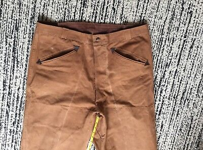 Vintage canvas hunting pants great Western details!  36 x 29 NICE! Tan cotton