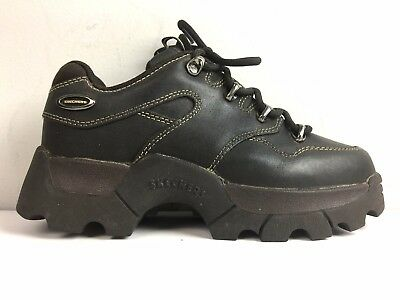 Vtg 90s Skechers Leather Platform 8 Hiking Boots Sneakers Jammers Lug Sole Brown