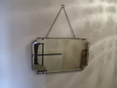 Vintage Art Deco 1930s/1940s Bevelled Edge Frameless Mirror With Chain