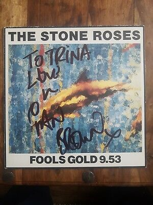 "Stone Roses Fools Gold 12"" vinyl signed by Ian Brown."