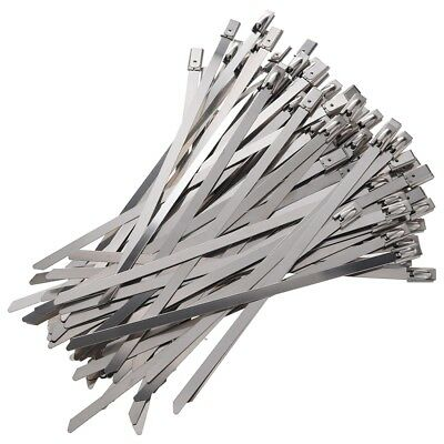 100pcs 5.9 Inches Stainless Steel Exhaust Wrap Coated Locking Cable Zip Tie D1E3