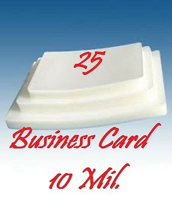 (25 pk) Business Card Hot Laminating Pouches 10 Mil Ultra Clear 2-1/4 x 3-3/4
