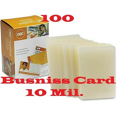 100- GBC Business Card Hot Laminating Pouches 10 Mil 2-1/4 x 3-3/4 Ultra Clear