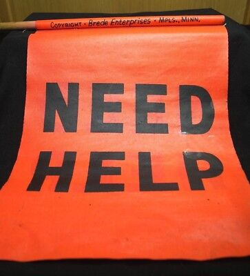 "Vintage Need Help Transportation Automobile Emergency Safety Flags 24"" X 15"""