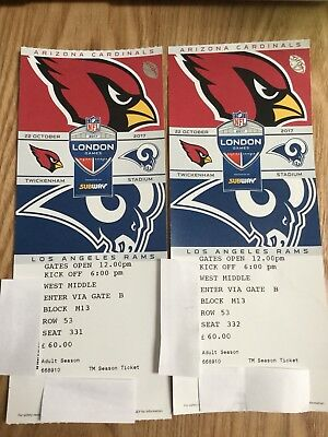 LA Rams v Arizona Cardinals Tickets x2 - NFL At Twickenham