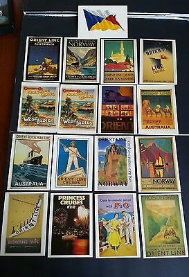 P & O  Poster Collection made in  to 17 postcards