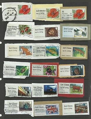 GB 18 Different used Post & Go Labels on paper