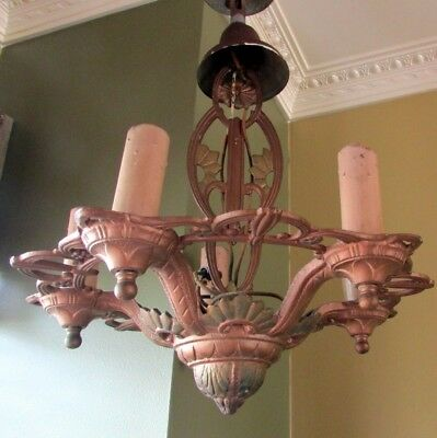 Vintage Art Deco Antique Ceiling Fixture 5 Light Ornate 1930s Original Condition