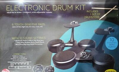 CLIFTON E- Drum ELECTRONIC Set - 6 TOUCH SENSITIVE PADS FOOT PEDALS + DRUMSTICKS
