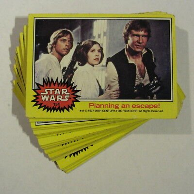STAR WARS - yellow border - vintage movie trading cards x 22 - Topps 1977