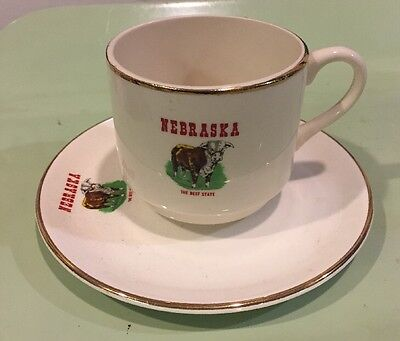 Nebraska, The Beef State Souvenir Cup And Saucer