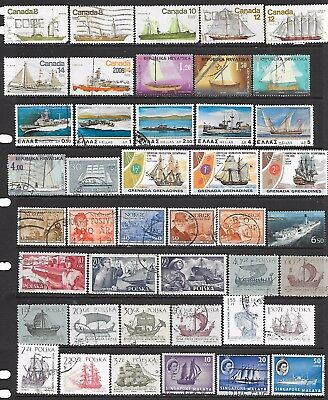 69 Stamps featuring ships that are used, cancelled to order or UMM (2 scans)