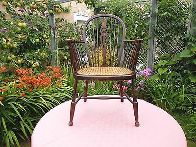 Antique  Edwardian Arts & Crafts Beech Hoop Back Windsor Elbow Chair With Cane S