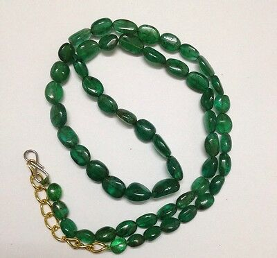 """82.20 Cts  """"natural Emerald""""  Beads Necklace"""