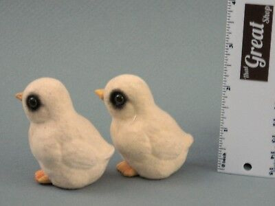 Vintage Small Standing Flocked Easter Chicks Table Decorations, Glass Eyes Lot 2