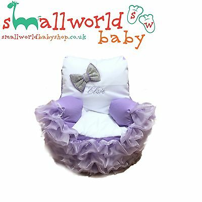 Personalised White/Lilac Frilly Bling Toddler Bean Bag Chair (NEXT DAY DISPATCH)