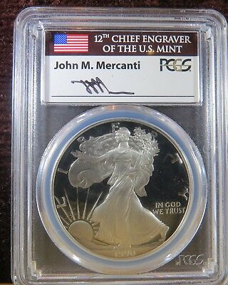 1990-S Proof American Silver Eagle, Pcgs Pr-70 Dcam Mercanti Signed Flag Label