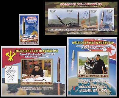 Korea 2017 IMPERF Launch Hwasong-14 Missile 4 pcs Stamp,S/S and M/S Rare  MNH