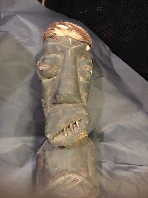 Distorted scary grotesque Voodoo hand carved wooden African statue Ritual Figure