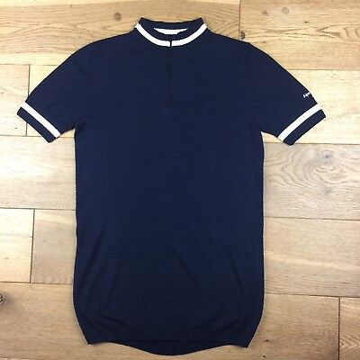 Cycling Jersey - Retro 'Alpe Deux' 100% Merino Wool - Navy Blue (MOD, CYCLING)