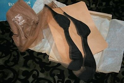 Vintage 2pr VERY RARE BLUE MOON Black FOOT SEAMED Stockings W. BOX (Item#782)
