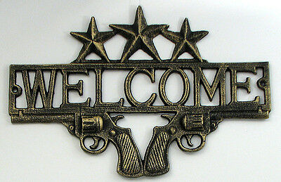 Welcome Stars  & Pistols Sign Plaque Wall Mount Western Decor 13 x 9