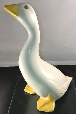 Handcrafted painted Spain Pottery Goose Duck White Vintage Collectible Art Decor