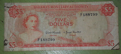 1968 Bahamas Five Dollars Banknote  Beautiful Island Money Queen Elizabeth cash