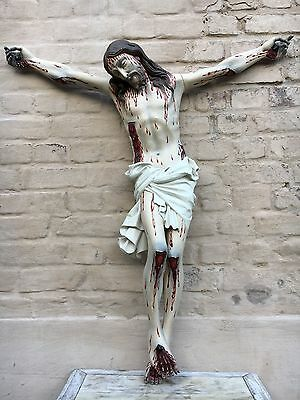 Exceptional & RARE Suffering Christ / Crucifix / Corpus Christi in wood 38.18 H