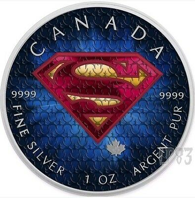 2016 1 Oz Silver Colorized BLUE Superman Coin WITH BOX AND COA.