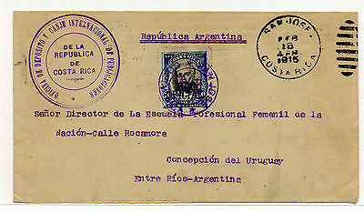 Costa Rica To Argentina -1915 Oficial Cover 10 Cts Overprint