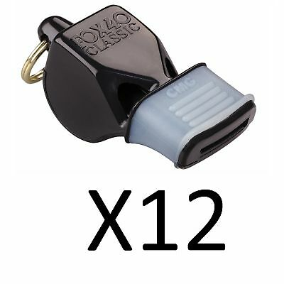 Fox 40 Classic CMG Whistle Referee-Coach-Safety-Alert-Rescue Black (12-Pack)