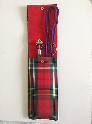 Pair Of Vintage Purple Covered Folding Travel Clothes Hangers In Red Tartan Case