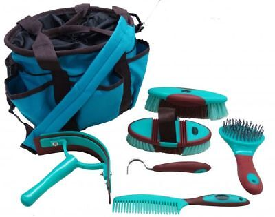 Showman 6 piece soft grip grooming kit with nylon carrying bag. TEAL HORSE TACK