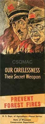 WW2~ Home front card ~ Prevent Forest Fires ~ State of Wisconsin ~ Rare original