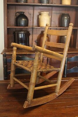 Early Antique Aafa Folk Art Child's Ladderback Rocker Rocking Chair Splint Seat