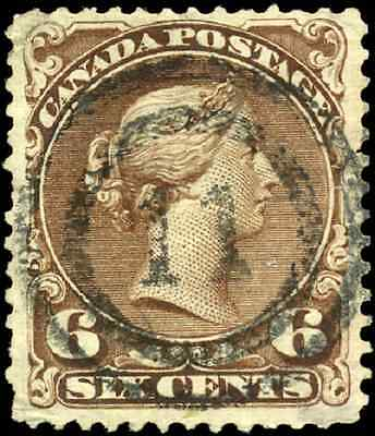Canada #27 used F-VF 1868 Queen Victoria 6c Large Queen  '11' 2-ring cancel