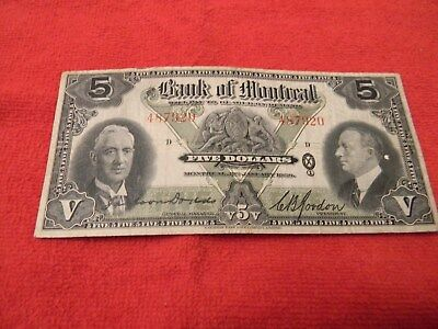 Rare Canada 1938 Bank of Montreal $5