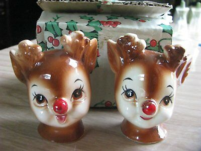 Vintage Lefton Rudolph Red Nose Reindeer Salt Pepper Shakers 4370 Original Box