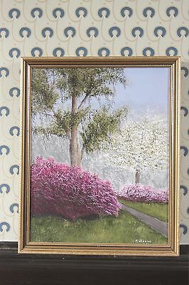 Oil on Canvas Landscape Painting by M. Wheeler in Gilt Frame