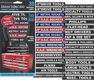 Adhesive TOOLBOX LABELS - Blue Edition  Fits all Craftsman Tool Chest & Drawers