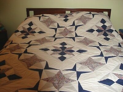 Vintage Handmade Quilt White Blue & Colorful Prints w Star Pattern