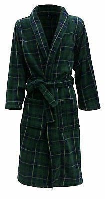 Men's Warm Fleece Bathrobe/Dressing Gown - Dark Green & Navy Tartan (sizes)