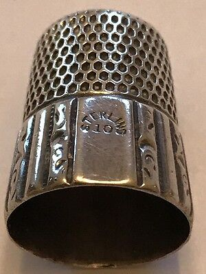 Antique Simons Bros Sterling Silver Thimble Panel  & Scroll Pattern. Pat 1889
